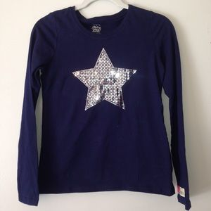 Navy blue l/s knit top with silver sparkle star